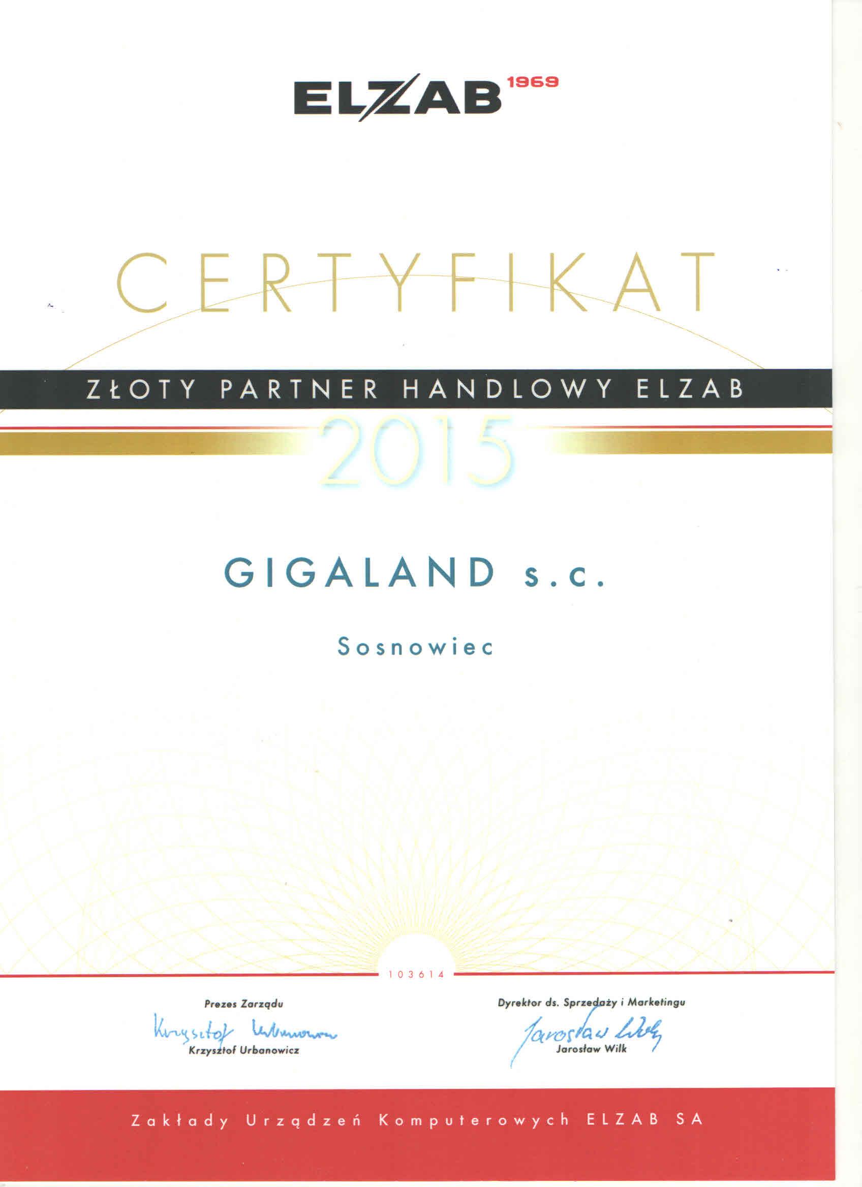 Certyfikat Złoty Partner Elzab